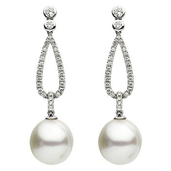 South Sea Pearl and Diamond Drop Earrings