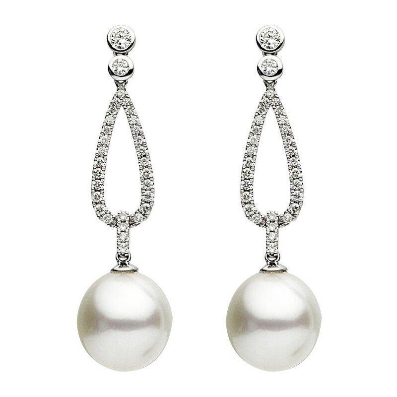 Studio Fine South Sea Pearl and Diamond Drop Earrings