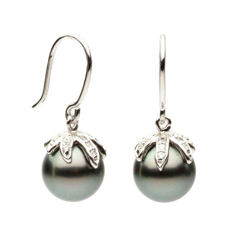 Studio Fine Tahitian and Diamond French Hook Earrings