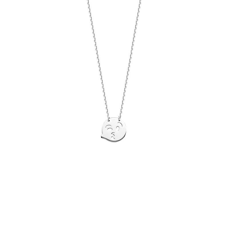 Studio Silver Winky Kissy Emoji Adjustable Necklace