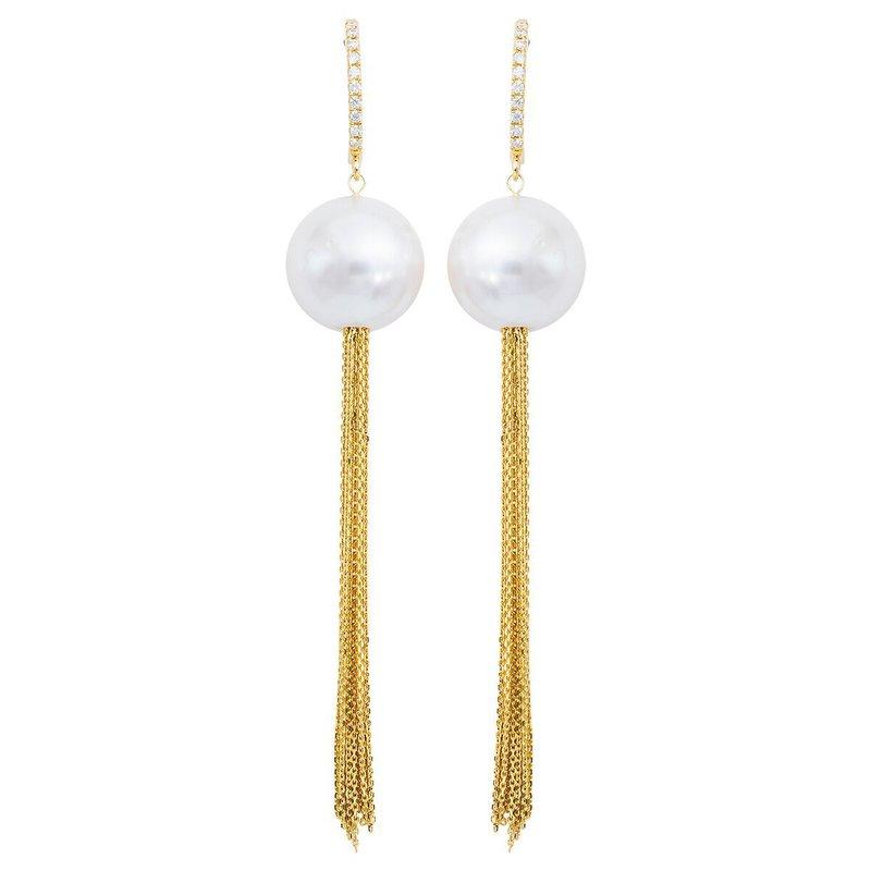 Studio Fine South Sea and Diamond Tassel Earrings