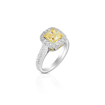 18 Karat Cushion Yellow Diamond Ring