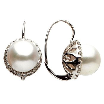 South Sea Pearl and Diamond Leverback Earrings