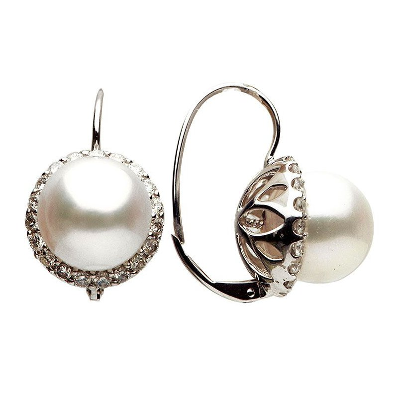 Studio Fine South Sea Pearl and Diamond Leverback Earrings