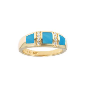 14 Karat Turquoise and Diamond Ring