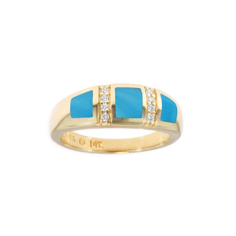 Studio Fine 14 Karat Turquoise and Diamond Ring