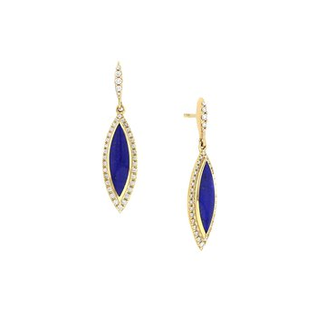 14 Karat Lapis Classic Earrings
