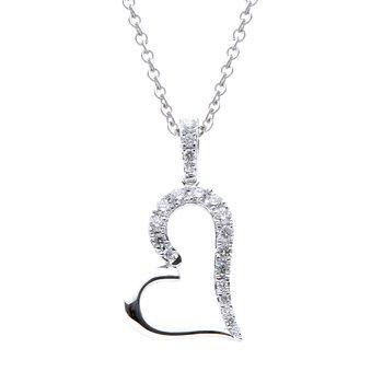 18 Karat White Gold Diamond Heart Pendant