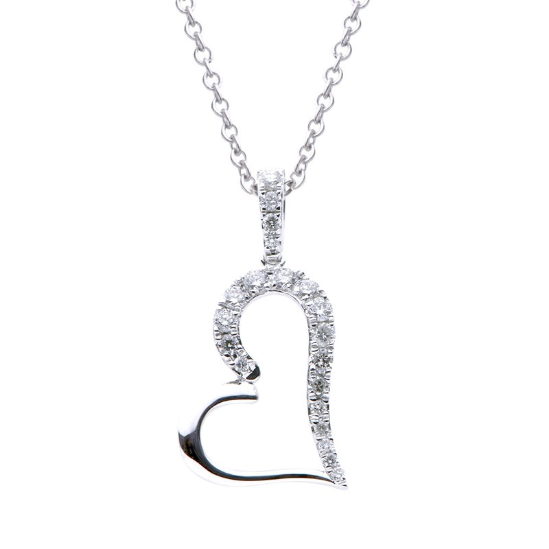 7 Mile Fine 18 Karat White Gold Diamond Heart Pendant