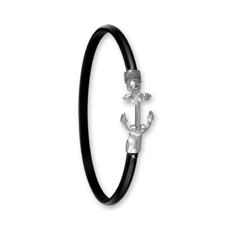 Studio Fine 4mm Black Titanium Anchor Hook Bangle