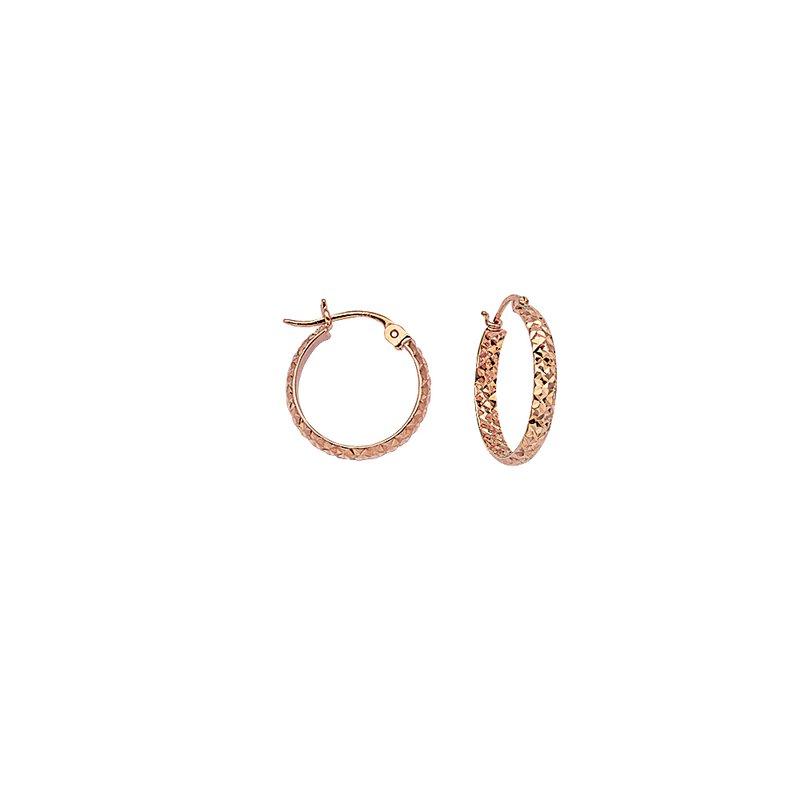 "Studio Fine 14 Karat 1/2"" Diamond Cut Hoops"