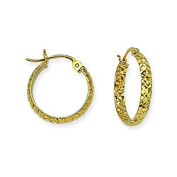 "14 Karat 1/2"" Diamond Cut Hoops"