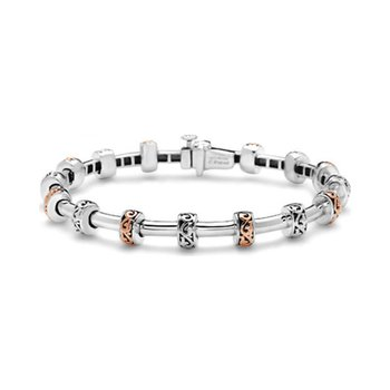 Rose Two-Tone Tube Station Bracelet