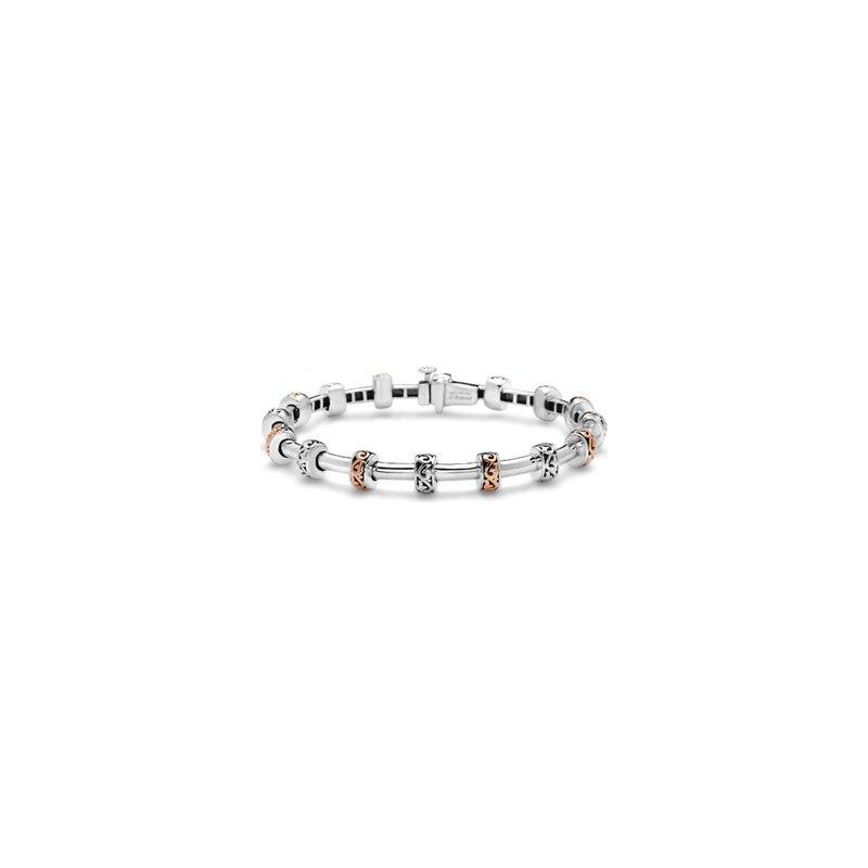 Studio Silver Rose Two-Tone Tube Station Bracelet