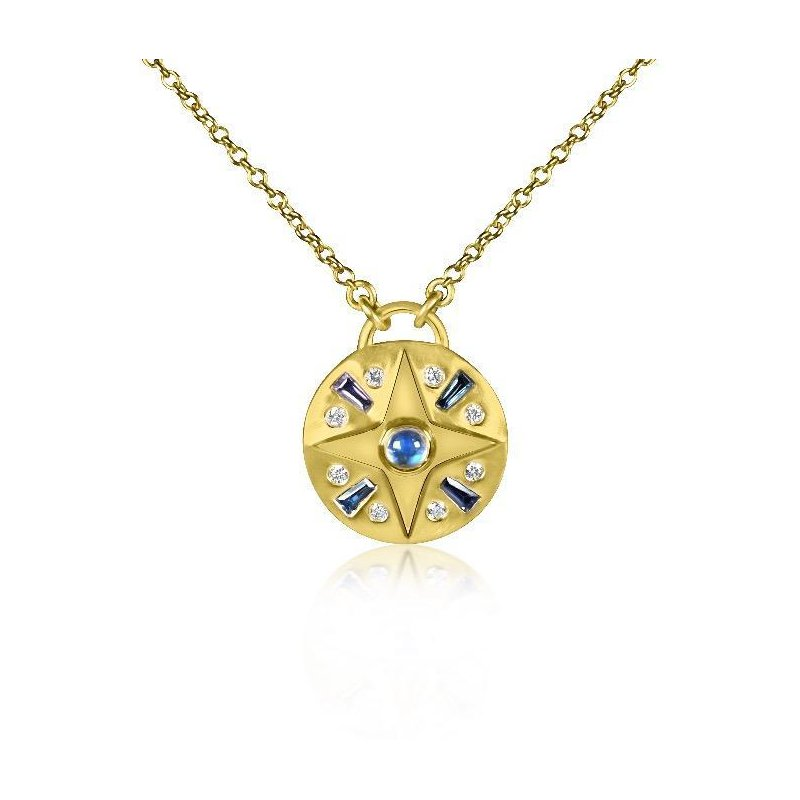 7 Mile Fine Small Compass Gemstone Necklace