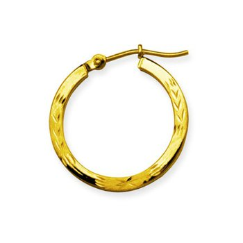 "14 Karat 3/4"" Patterned Hoops"