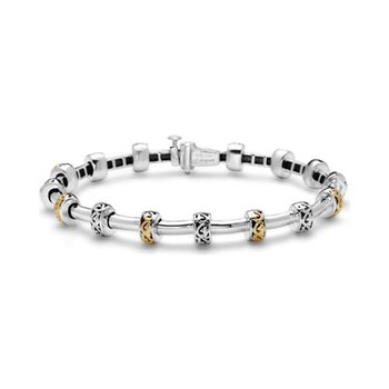 Yellow Two-tone Tube Station Bracelet