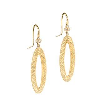 Crownwork and Diamonds Oval Hoop Earrings