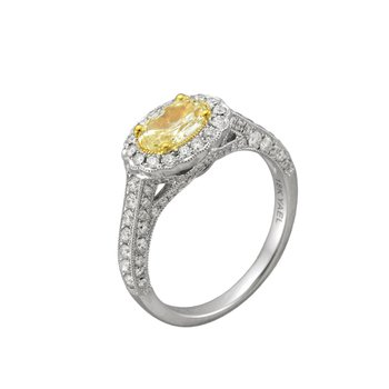 18 Karat Oval Yellow Diamond Ring