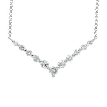 18 Karat White Gold Diamond Chevron Necklace