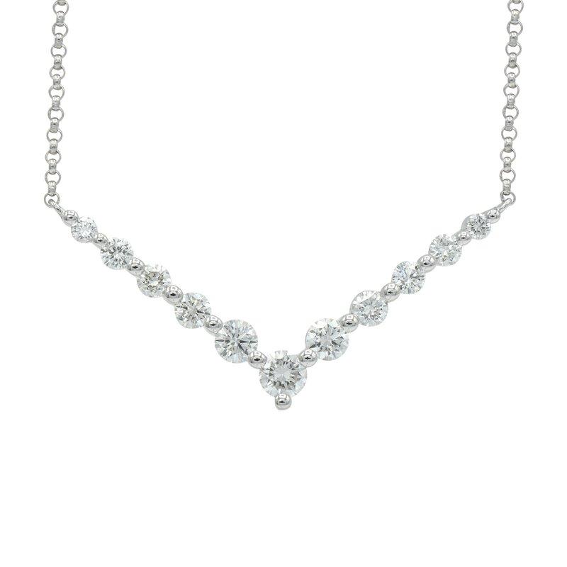 7 Mile Fine 18 Karat White Gold Diamond Chevron Necklace