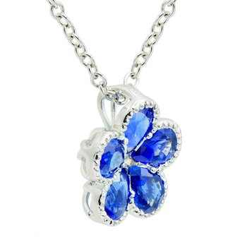 18 Karat White Gold Sapphire Flower Pendant