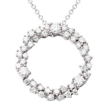 18 Karat White Gold Diamond Circle Pendant