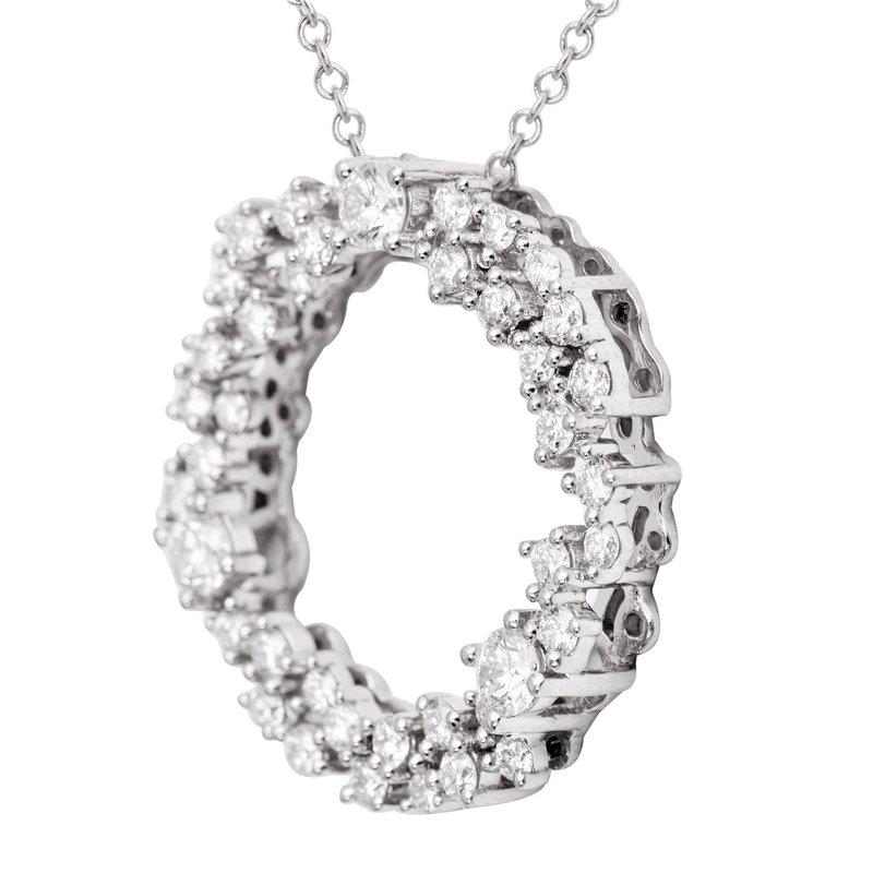 7 Mile Fine 18 Karat White Gold Diamond Circle Pendant