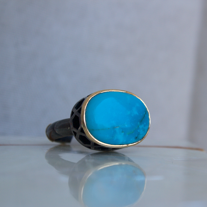 Beachy Baubles by The Studio Tidal Turquoise Ring