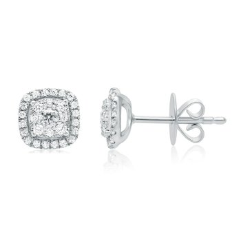 Pavé Cushion-Shaped Diamond Stud