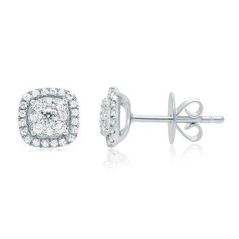 Pavé Cushion-Shaped Diamond Stud