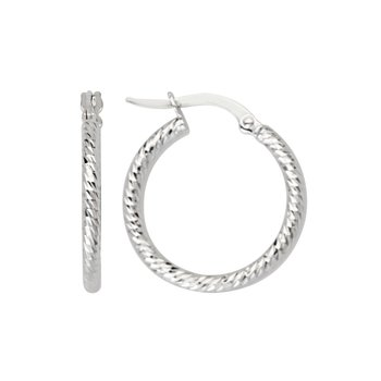 "14 Karat 3/4"" Diamond Cut Hoops"