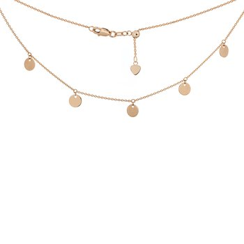 14 Karat Dangle Disc Adjustable Choker