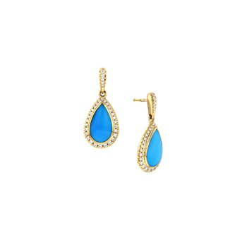 14 Karat Turquoise and Diamond Earrings