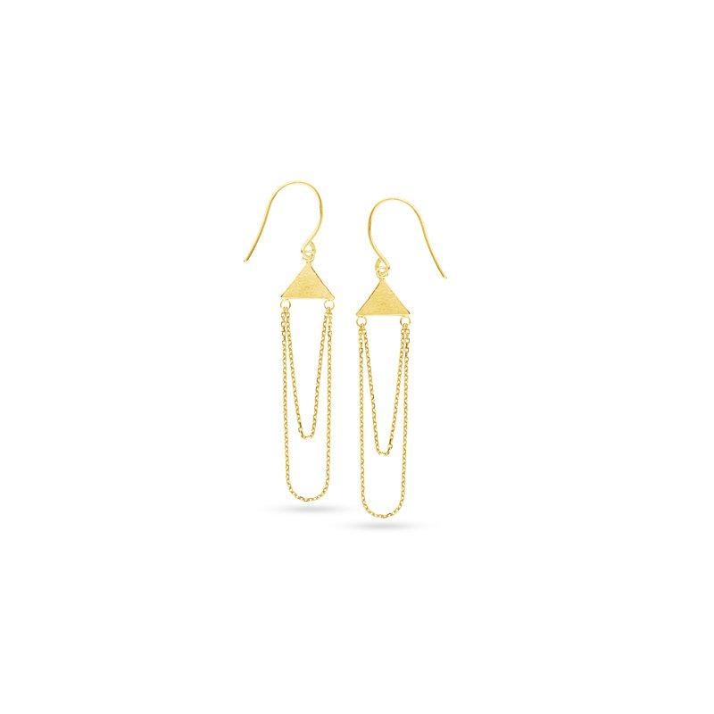 Studio Fine 14 Karat Geometric Chain Earrings