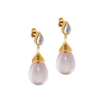 Moonstone and Rose Quartz drop earrings
