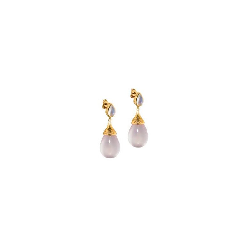 Studio Fine Moonstone and Rose Quartz drop earrings