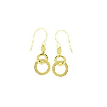 14 Karat Double Circle Dangle Earrings