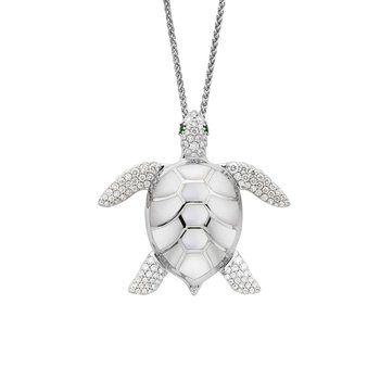 14 Karat Mother of Pearl Turtle Necklace