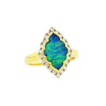 14 Karat Opal Alhambra Ring