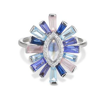 Moonstone & Diamond Halo Luminous Ring