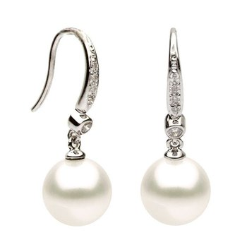 Freshwater Pearl and Diamond French Hook Earrings