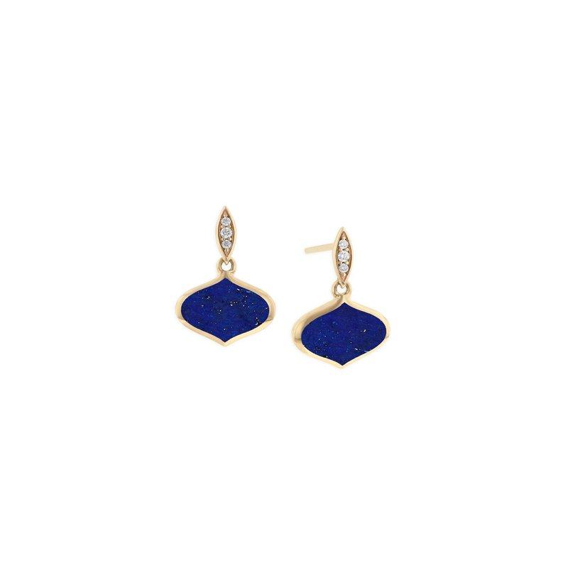 Studio Fine 14 Karat Lapis Diamond Alhambra Earrings