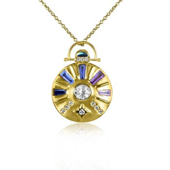 Large Sundial Gemstone Necklace