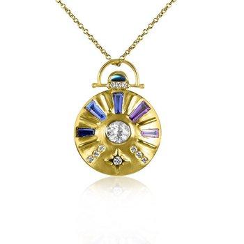 Large Sundial Gemstone Necklace