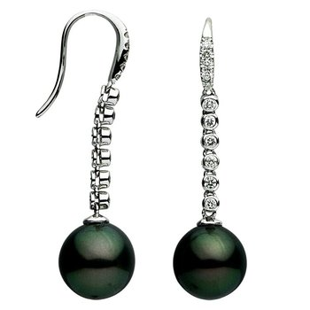 Tahitian Pearl and Diamond French Hook Earrings