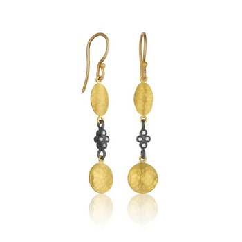 24k & Sterling Silver Diamond Hammered Drops