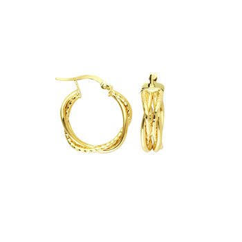 "14 Karat 3/4"" Braided Hoops"
