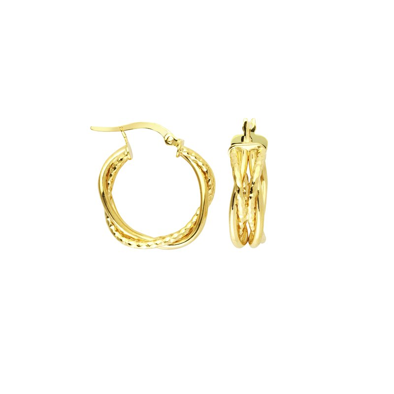 "Studio Fine 14 Karat 3/4"" Braided Hoops"