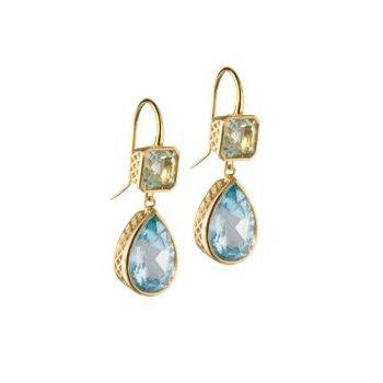 18 Karat Crownwork Emerald and Pear-shaped Drop Earrings
